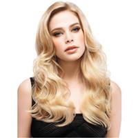 Donne Bionde belle parrucche lunghe parrucca bionda luce colore capelli ricci biondi Capelli ricci crespi sintetici per donne DHL bea453