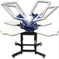 أربعة ألوان 4 محطات المعدات الصناعية آلة طباعة الشاشة الصحافة تي شيرت طابعات طابعة متكبرية