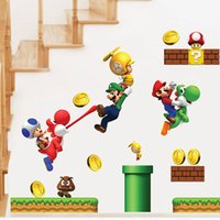 Wholesale- Cartoon Stickers Super Mario Wall Stickers For Ki...