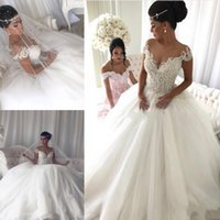 Luxurious Arabic Ball Gown Wedding Dresses Plus Size Scoop N...