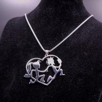 Silber ICP Schmuck große Edelstahl Verrücktheit Hatchetman Beil Juggalette Herz Anhänger mit 3mm 30 Zoll Box Kette Halskette