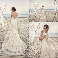 Vestidos vestido de novia Sheer sirena de boda de marfil Apliques vestidos de encaje de la manga casquillo del V cuello de Boho de la boda de playa de la vendimia de encargo Vestidos de novia