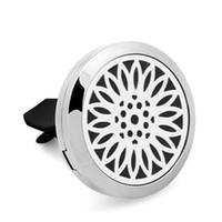 CG061-CG070 Nuovo Deodorante per Auto 30mm Aromaterapia Olio Essenziale S.Steel Ciondolo Diffusore di Profumo Car Locket Vent clip con 5 pz Felt Pads
