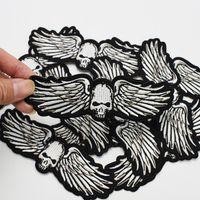1 stks punk vleugels schedel badges patches voor motor kleding strijkijzer op transfer applique patch voor kleding jas DIY naaien op borduurwerk embleem