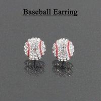 Горный хрусталь спортивный мяч серьги Баскетбол Бейсбол регби уха шпильки ювелирные изделия 25 цвет