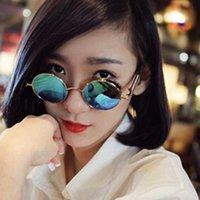 Nova rodada óculos de sol de metal steampunk homens mulheres moda óculos de  marca designer de b5c9b1254f