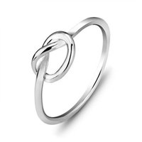 hot Korean casual ring Genuine 925 Sterling Silver Love Knot...