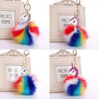Hot Fluffy Unicorn Pony Keychain Pendant Cute Pompom Artific...