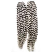 Afro kinky prata extensões de cabelo brasileiro tecer cabelo pacotes 200g brasileiro kinky encaracolado cabelo virgem 2 PCS