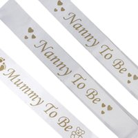 Mamá Mamá PARA SER Niñera TO BE White Satin Sash Banner Footprint Baby Shower Party Supplies Sash