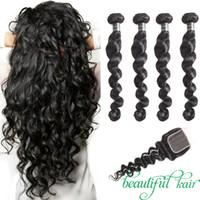 Необработанные Малайзийские девственные волосы 3 или 4 пучка с закрытием кудрявый вьющиеся глубокая волна воды волна человеческих волос Свободная волна с закрытием