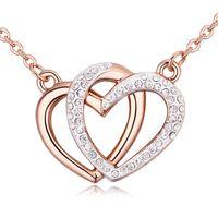 Высокое качество известных брендов дизайн двойное сердце кулон ожерелье из золота и родия покрытием для женщины невесты свадебные украшения neckalce