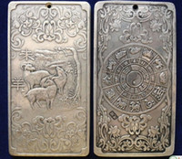 Old Chinese 12 Zodiac - Sheep tibet Silver Bullion thanka amuleto 136g