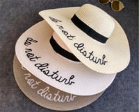 wide Brim sun hats for women Letter Embroidery straw Hats gi...