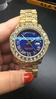 NEW Luxury 40mm Big diamond Mechanical man blue face watch f...