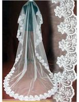 الشحن مجانا جودة عالية جديد بالجملة 3 متر الحجاب الزفاف التبعي الدانتيل الزفاف الحجاب الأبيض العاج رخيصة الثمن