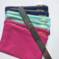 Borsa da trucco in tela di cotone denso di colore solido con lampo con zip oro Fodera d'oro 6 * 9in tela dono dono dono borse matita matita custodia calda rosa / navy / menta