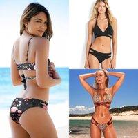 Summer Styles Cross Hollow Halter Women Print Swimwear Swims...