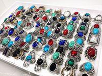 Stili misti all'ingrosso 100pcs retro argento donne pietra anelli gioielli regali di partito nuovissimo etnico tribale