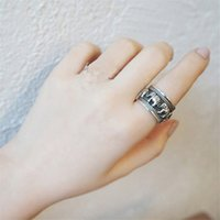 Vintage Real 925 Sterling Silver Wide Band Rings For Women T...