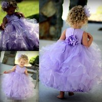 Light Purple 2015 Princess Flower Girls' Dresses for Beach Wedding Party with Jewel Neck Ruffled Stain Organza Flowergirl Kids Girl Gowns