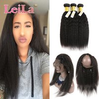Indian Natural Hairline Virgin Hair Coarse Yaki 360 Lace Fro...
