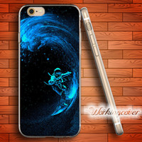 Capa Space Surfing Soft Clear TPU Case for iPhone 6 6S 7 Plu...