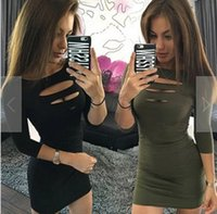 Mode Sexy Party Kleider Bleistift Club Kleider Bodycon Dresses Frauen 3/4 Hülse Drei Loch Front Büste Paket Hip Mini Sommerkleid
