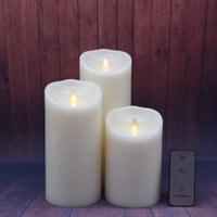 3 pcs set luminara candles led dancing flameless wax pillar candles w remote for gifts home wedding christmas decoration