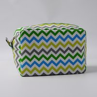 Rainbow Toiletry Bag Wholesale Blanks Multi-colors Chevron Makeup Bag Zig Zag Polyester Womens Cosmetic Cases Free Shipping DOMIL106001