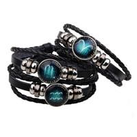Pulseiras Lederarmbänder für Frauen Sternzeichen Armband Femme Steinbock Jungfrau Widder Waage Online Shopping Indien Charme Armbänder