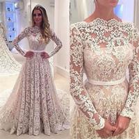 Robe de mariée une ligne manches longues dentelle robes de mariée 2019 robe de mariée Train de la cour arrière Robe Mariage Vestido de Noiva