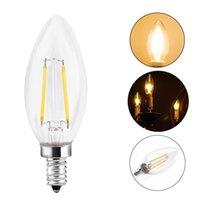 2W 4W LED خيوط شمعة ضوء لمبة E12 E14 E27 E26 B15 B22 جودة عالية توفير الطاقة لمصابيح الثريا C35 C35T عكس الضوء شمعة مصباح