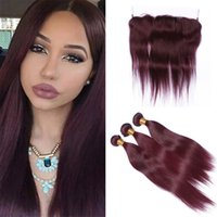 Wine Red Burgundy Lace Frontal Closure with Bundles Pure Col...