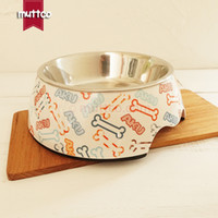 práctico y desmontable doble antideslizante hueso de acero inoxidable plato redondo para perros DB-005