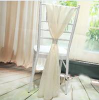 2019 싼 흰색과 아이보리 의자 새끼 결혼식을위한 쉬폰 54 * 180cm 웨딩 의자 커버 신부 대나무