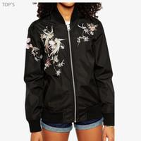 2017 여성 자수 꽃 피닉스 버드 짧은 재킷 브랜드 폭격기 재킷 코트 파일럿 착실히 보내다가 봄 자켓 여성 탑 도매 -