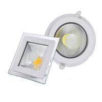 디 밍이 가능한 5w 10w 15w LED COB 아래로 조명 유리 라운드 스퀘어 recessed downlights LED 천장 패널 스포트 라이트 LED가 개조 조명 SAA UL