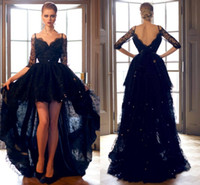 2016 빈티지 높은 낮은 흑인 댄스 파티 드레스 비대칭 절반 슬리브 골치 아픈 건 레이스 야간 파티 드레스 Vestidos