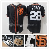 Maillots de baseball San Francisco Giants 28 Buster Posey 100% cousu Majestic Scarlet 2017 Spring Training Jersey Cool Base Player