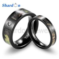 shardon camo black engagement ring titanium mossy tree camo cz inlay wedding rings sets st151209 have in stock - Camouflage Wedding Ring Sets