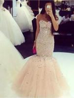Sexy Champagne Colore Prom Dress Mermaid Cristalli In Rilievo Dell'innamorato Lungo Formale Wear Pageant Party Gown Custom Made Plus Size