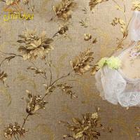 Lüks Çiçek Duvar kağıdı Modern Kabartmalı Altın Duvar Kağıdı Duvarlar Için Papel De Parede 3D Duvar Kağıdı Rulo Tapete Vinil Duvar ...