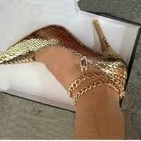 2017 Fashion Brand High Heels Women Gold Snake Leather Sexy ...