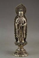 Bella statua del Buddha Bodhisattva d'Argento Tibet 19x5.5 CM