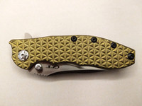 Custom Zero Tolerance Hinderer 0562 Flipper M390 Hoja de Satén Foling Cuchillo 3D Checked Golden Titanium Handle EDC Tactical Tools Envío gratis