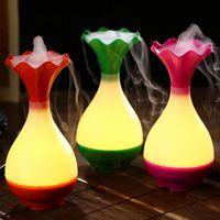 Novo Vaso de Flores USB Umidificador de Ar Ultra-sônica Aromaterapia Difusor De Aroma de Óleo Essencial com LED Night Light Névoa Purificador atomizador para Casa
