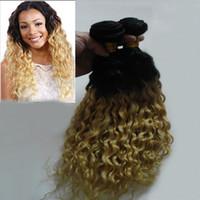 Fasci del tessuto dei capelli biondi ombre 1 bundles Non-Remy 200g 1b / 613 brasiliano capelli ricci crespi vergini doppia trama