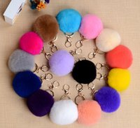 Hot Rabbit Fur Ball Keychain Soft Fur Ball Lovely Gold Metal...