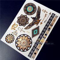 All'ingrosso nuovo trucco metallico Flash impermeabile Tattoo HYS-44 d'oro Donne Henna Sun Flower Freccia Ala occhio catena Tatuaggio Stick Paster
